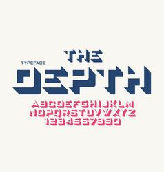 The depth decorative font design alphabet vector