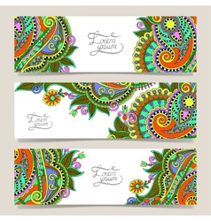 three horizontal banners with decorative vector image