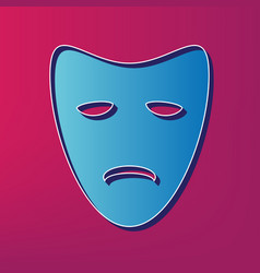 Tragedy theatrical masks blue 3d printed vector