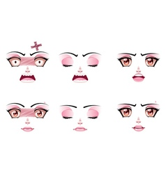 Unhappy female face vector