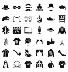 Vogue icons set simple style vector
