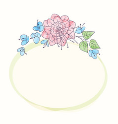 watercolor round flower frame hand drawn floral vector image