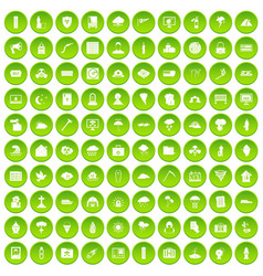 100 natural disasters icons set green circle vector