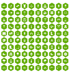 100 spring icons hexagon green vector
