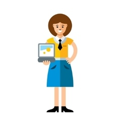 Business woman using laptop flat style vector