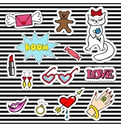 Cute fashion patch badges with lips heart cat vector