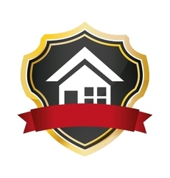 Shield protected home security red banner vector