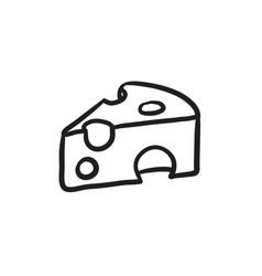 Piece of cheese sketch icon vector