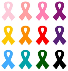 Colorful breast cancer ribbons icon set vector