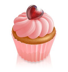 pink fairy cake cupcake with heart decoration vector image