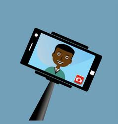 Monopod selfie man self portrait tool for vector