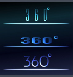 360 degrees view sign set virtual reality vector image