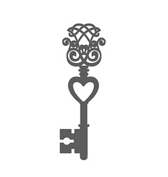 Vintage key silhouette isolated on white vector