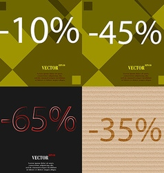 45 65 35 icon set of percent discount on abstract vector
