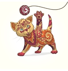 Kitten with abstract ornament vector