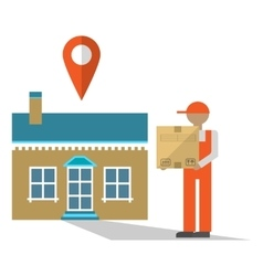 Delivery man with box vector