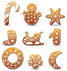 Holiday gingerbread cookies vector
