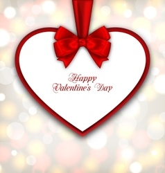 Celebration Card in form Heart with Ribbon vector image