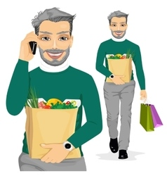 Mature man carrying grocery paper bag vector