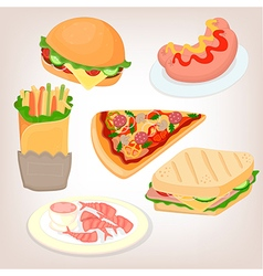 Fast food set cheeseburger sandwich sausage shrimp vector