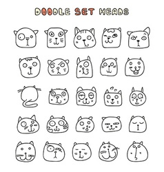 Set 25 doodle cats with different emotions vector