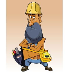 Cartoon man with helmet and tools vector