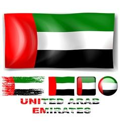 United Arab Emirates flag in different designs vector image