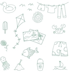 Beach toys doodle for kids vector