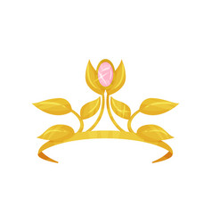 beautiful royal crown decorated with golden petals vector image