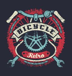 Bicycle grunge vintage poster with parts vector