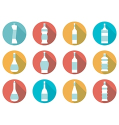 Bottle of water flat icon with long shadow vector image vector image