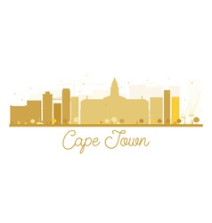 Cape town city skyline golden silhouette vector
