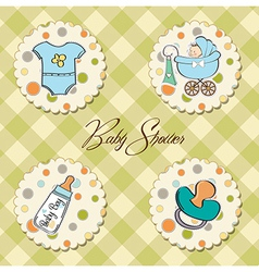 Cartoon baby boy items collection vector