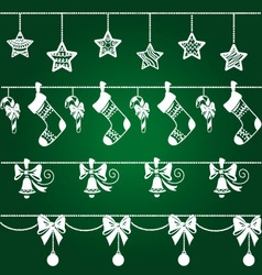 Christmas ornaments decorations set vector image vector image