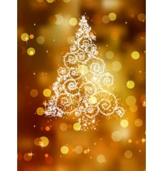 Christmas tree on golden EPS 8 vector image vector image