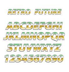 Chrome alphabet in 80s retro futurism style vector