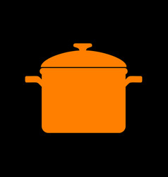 Cooking pan sign orange icon on black background vector