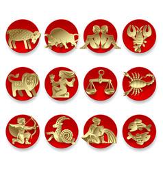 gold zodiac signs vector image