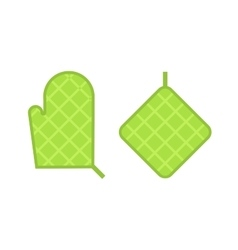 Green safety kitchen potholder vector