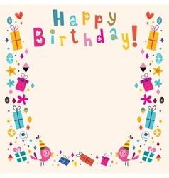 Happy Birthday border retro card vector image vector image