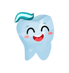 happy smiling giant tooth character dental care vector image vector image
