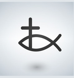 jesus fish and cross icon vector image