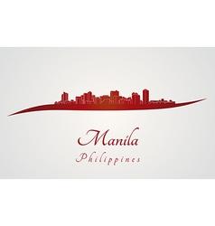 Manila skyline in red vector
