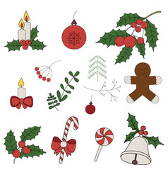 Merry christmas badges patches stickers a set of vector