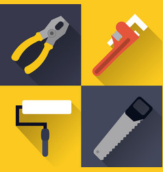 Paint brush wrench saw pliers tool icon vector