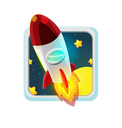 Red rocket fly space cartoon vector