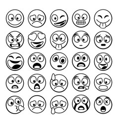 sketch black sing set of emoji vector image