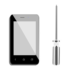 Smartphone and screwdriver vector image