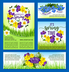 Spring flowers holiday posters and banners vector