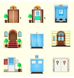 Stylized colorful icons for door vector image